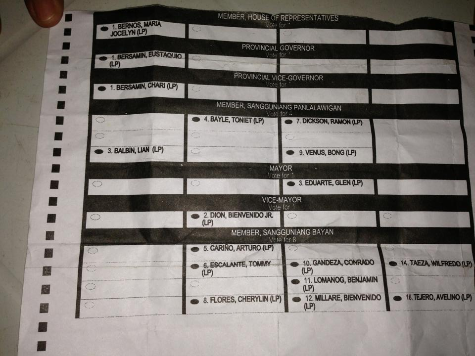 sample Ballot with P2,500.00 urging voters to vote for certain ...