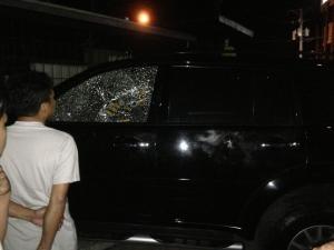 """Dr. Mario """"Ching"""" Valera's SUV after the ambush"""
