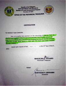 Provincial Governor's Letter approval of payment