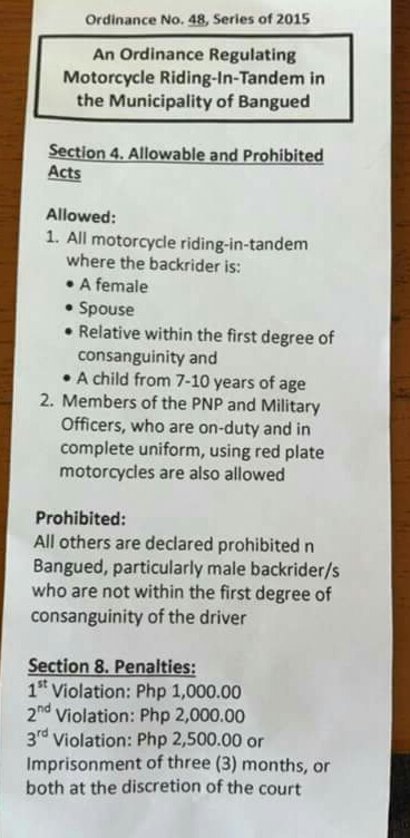 Regulating Riding-In-Tandem in Bangued is now ineffect