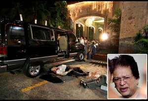 The bodies of former Abra congressman Luis Bersamin and his police escort Adelfo Ortega lie next to their vehicle after they were gunned down in front of the Mt. Carmel Church in New Manila, Quezon City on Dec. 16, 2006. Former Abra governor Vicente Valera (inset) and two others were found guilty of the murders by a Quezon City court yesterday. Walter Bollozos