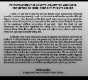Anne Valera Statement