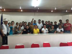 Mayor Dominic Valera and supporters clenched their fist during the LMP elections